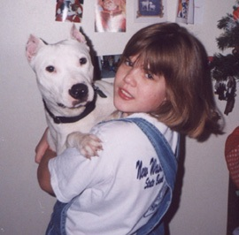 Photo of Oliver, a white Pit Bull Terrier, with his favorite sister
